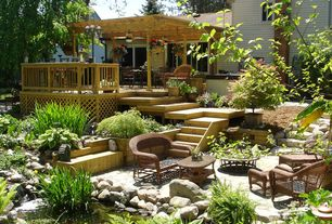 Traditional Landscape/Yard with exterior stone floors, Sedge Ornamental Grass Plant, Raised beds, Trellis, Pond