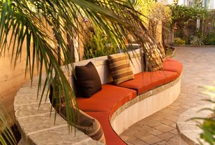 Tropical Patio with Bed Bath and Beyond Solid Outdoor Settee Cushion in Orange, Fence, Pathway, exterior stone floors