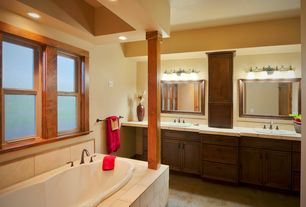 Craftsman Master Bathroom with Limestone tile counters, partial backsplash, Limestone Tile, Flat panel cabinets, Drop-in sink