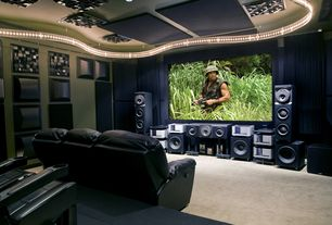Modern Home Theater with Standard height, can lights, Carpet