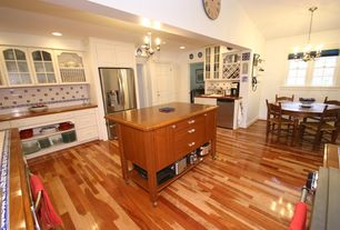 Country Kitchen with Glass panel, Hardwood floors, two dishwashers, can lights, Raised panel, Casement, Breakfast nook, Flush