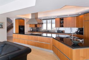 Contemporary Kitchen with full backsplash, can lights, double wall oven, Stainless Steel, Flush, One-wall, Undermount sink