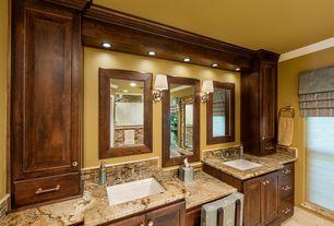 Craftsman Master Bathroom with Wall Tiles, Shower, Undermount sink, Crown molding, Flush, partial backsplash, Wall sconce