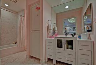 Contemporary Master Bathroom with Ms International Cherry Blossom Marble Tile, Master bathroom, Flush, tiled wall showerbath