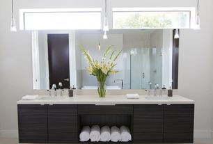 Modern Master Bathroom with Laminate floors, Forte lighting mini pendant, Pendant light, Built-in bookshelf