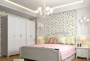 Traditional Guest Bedroom with interior wallpaper, Wall sconce, Hardwood floors, Crown molding, Built-in bookshelf