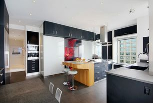 Contemporary Kitchen with electric cooktop, Kitchen island, Standard height, U-shaped, Island Hood, Hardwood floors, Flush
