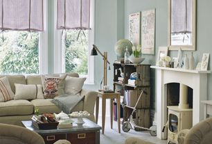 Cottage Living Room with Fireplace, Paint 1, picture window, Crown molding, Standard height, Rex grey task lamp, Paint 2