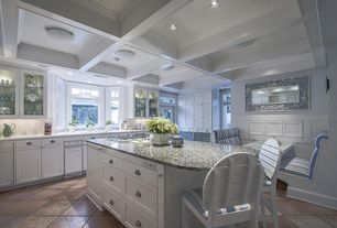Traditional Kitchen with L-shaped, Limestone Tile, Breakfast nook, Complex granite counters, Flush, Undermount sink