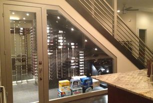 Contemporary Wine Cellar with Complex granite counters, High ceiling, Custom wine storage