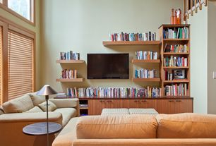 Modern Living Room with picture window, Built-in bookshelf, High ceiling