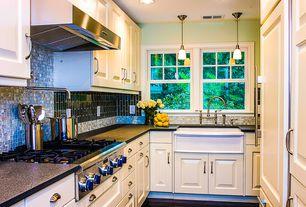 Traditional Kitchen with Ceramic Tile, Simple granite counters, Farmhouse sink, Arizona tile - galaxy black granite, Flush