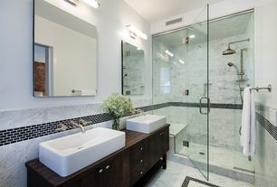 Contemporary 3/4 Bathroom with Wood counters, Subway Tiles - Minis Black, Vessel sink, European Cabinets, Handheld showerhead