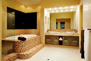 Modern Master Bathroom with Barclay Luna Semi-Recessed Lavatory Sink, Flush, Daltile Melange Classic 1x1 Mosaic Tile