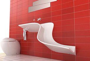 Modern Powder Room with Wall mounted sink, Signature Hardware SIEWART LINEAR SHOWER DRAIN, Powder room, Standard height