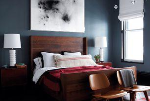 Contemporary Master Bedroom with Pendant light, Hardwood floors