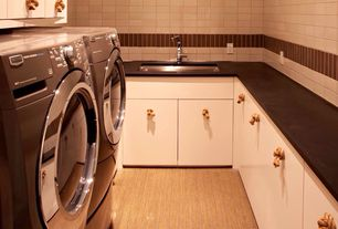 Modern Laundry Room with High ceiling, Built-in bookshelf, laundry sink, Carpet, Undermount sink