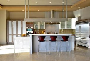 Contemporary Kitchen with Wall Hood, full backsplash, electric cooktop, Stainless Steel, Flush, can lights, Standard height