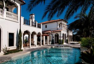 Mediterranean Swimming Pool with Deck Railing, Pathway, Casement, Fountain, Other Pool Type, Arched window, Transom window