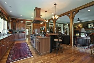 Country Kitchen with Columns, Raised panel, Pendant light, Glass panel, Flush, Kitchen island, Crown molding, L-shaped