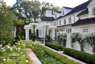 Traditional Landscape/Yard with double-hung window, Trellis, Gate, French doors, Pathway, exterior stone floors, Fence