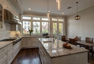 "Traditional Kitchen with Bellawoo 3/4"" x 5"" matte american walnut hardwood flooring, Glass panel, Gas rangetop, Paint 2"