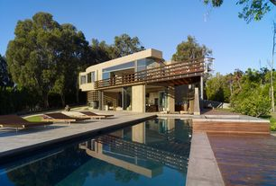 Contemporary Swimming Pool with Lap pool, Transom window, Fence