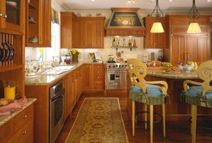 Country Kitchen with double-hung window, L-shaped, Standard height, full backsplash, Built In Panel Ready Refrigerator, Flush