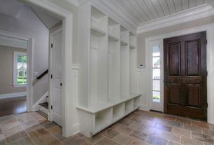 Traditional Mud Room with Built-in bookshelf, slate floors, specialty door, Crown molding, Daltile slate in bronzed beacon