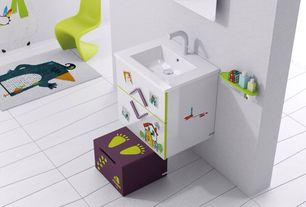 Contemporary Kids Bathroom with Flush, Kids bathroom, Undermount sink, European Cabinets, Vitra Panton Junior Chair