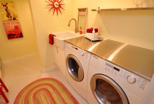 Modern Laundry Room with limestone tile floors, stone tile floors, laundry sink, Farmhouse sink, Standard height