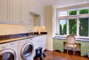 Traditional Laundry Room with Undermount sink, Built-in bookshelf, Hardwood floors, Rejuvenation vernon bin pull