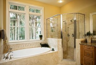 Traditional Master Bathroom with Master bathroom, Wall Tiles, Standard height, Complex Granite, stone tile floors, Flush