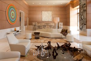 Contemporary Great Room with sandstone floors, Wainscotting