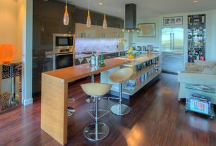 Modern Kitchen with L-shaped, Kitchen island, Undermount sink, Pendant light, Complex Marble, Complex marble counters