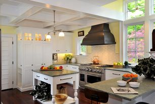 Country Kitchen with Inset cabinets, Simple granite counters, Flat panel cabinets, specialty door, Ceramic Tile, Box ceiling