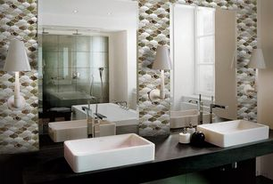 Contemporary Master Bathroom with Wood counters, Master bathroom, Freestanding, Wall sconce, Ceramic Tile, Rain shower