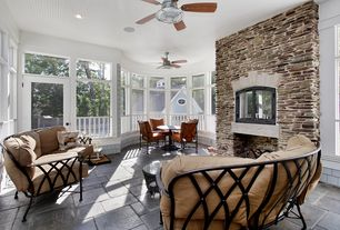 Cottage Porch with French doors, Screened porch, exterior stone floors, Casement