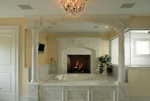Master Bathroom with Greecian white 18 in. x 18 in. honed marble floor and wall tile, MTI Soaker Bath Tub, Master bathroom