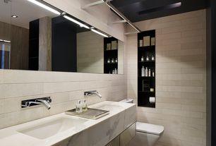 Contemporary Master Bathroom with Double sink, Undermount sink, Standard height, Wall Tiles, can lights, frameless showerdoor