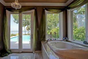 Traditional Master Bathroom with Chandelier, Master bathroom, French doors, Crown molding, complex marble tile floors