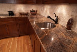 Craftsman Kitchen with Armstrong Flooring - Cherry in Natural, Flat panel cabinets, Onyx counters, Inset cabinets, L-shaped