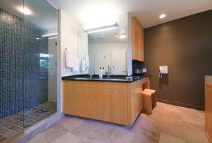 Contemporary Master Bathroom with Flush, Undermount sink, flush light, Shower, frameless showerdoor, Simple granite counters