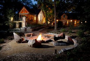 Rustic Landscape/Yard with Stone seating, Pathway, Stone 2 Furniture Rock Furniture, exterior stone floors, Raised beds
