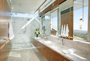 Contemporary 3/4 Bathroom with Undermount sink, Pental aspen honed marble, Flush, Concrete tile , Complex Marble, Double sink