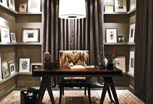 Contemporary Home Office with Pendant light, Hardwood floors, Velvet grommet curtain, White picture ledge, Built-in bookshelf