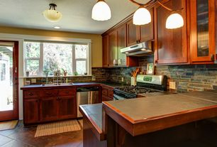 Traditional Kitchen with slate tile floors, gas range, Paint, flush light, full backsplash, Inset cabinets, Formica counters