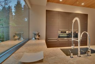 Contemporary Kitchen with European Cabinets, Undermount sink, Kitchenaid stand mixer, L-shaped, Flush, High ceiling