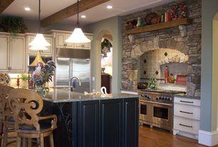 Mediterranean Kitchen with Black Bear Manufactured Stone - Ledge Stone Rustic / Ledge Stone, Pendant light, Kitchen island