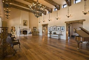 Traditional Great Room with Fireplace, Chandelier, Exposed beam, interior wallpaper, High ceiling, Cement fireplace